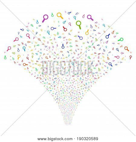 Search salute stream. Vector illustration style is flat bright multicolored iconic symbols on a white background. Object stream fountain made from random symbols.