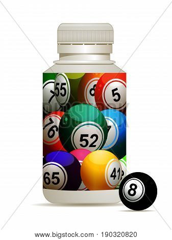 3D Illustration of Pills Plastic Bottle with Bingo Lottery Balls Label and One Black Bingo Ball on the Side