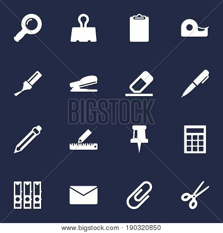 Set Of 16 Tools Icons Set.Collection Of Binder, Drawing, Highlighter And Other Elements.