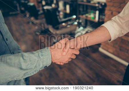 Friendship, Trust, Men`s Life, Barber Shop Concept. Two Guys - Worker Of Salon And A Client Became F