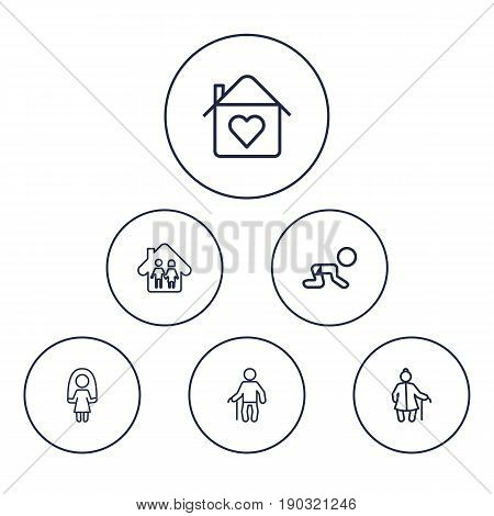 Set Of 6 Relatives Outline Icons Set.Collection Of Crawling Kid, Skipping Rope, Parents And Other Elements.