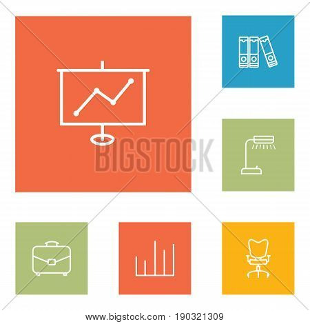 Set Of 6 Work Outline Icons Set.Collection Of Document Case, Show, Chart And Other Elements.