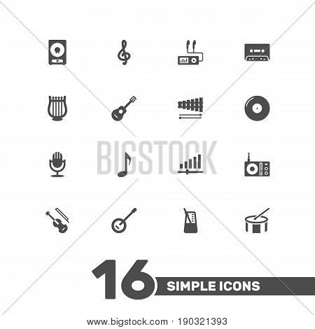 Set Of 16 Melody Icons Set.Collection Of Audio Device, Karaoke, Radio And Other Elements.
