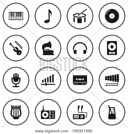 Set Of 16 Music Icons Set.Collection Of Audio Device, Retro Disc, Fiddle And Other Elements.