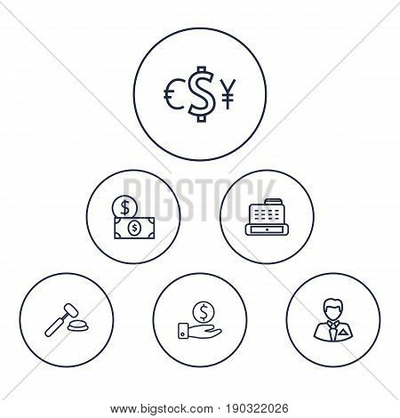 Set Of 6 Budget Outline Icons Set.Collection Of Exchange, Auction, Businessman And Other Elements.