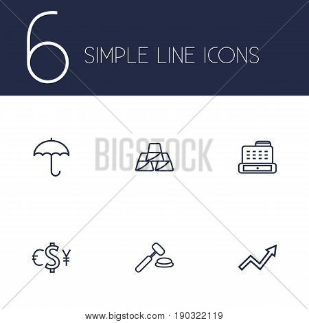 Set Of 6 Finance Outline Icons Set.Collection Of Exchange, Golden Bars, Auction And Other Elements.