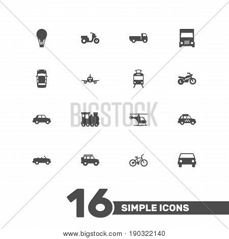 Set Of 16 Transport Icons Set.Collection Of Aircraft, Wagon, Taxicab And Other Elements.