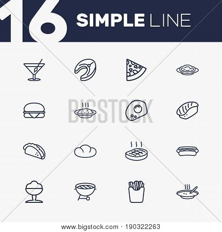 Set Of 16 Food Outline Icons Set.Collection Of Cocktail, Omelette, Hotdog And Other Elements.