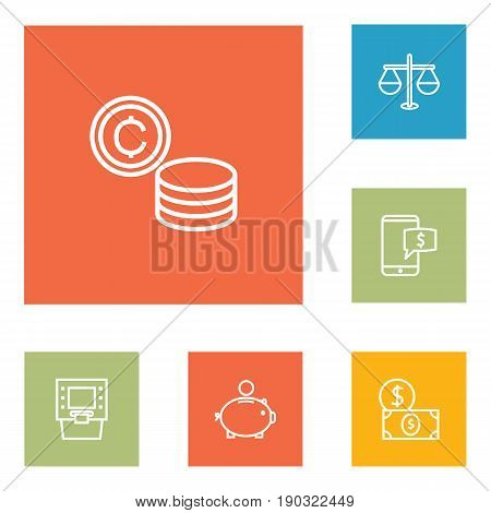 Set Of 6 Finance Outline Icons Set.Collection Of Dollar, Justice, Atm And Other Elements.