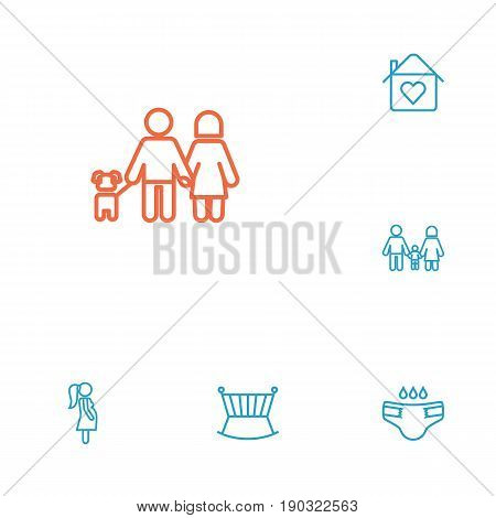 Set Of 6 People Outline Icons Set.Collection Of Family, Crib, Home And Other Elements.