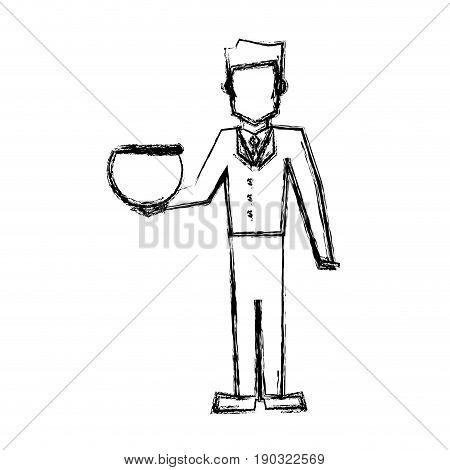 vet man with empty bowl fish sketch vector illustration