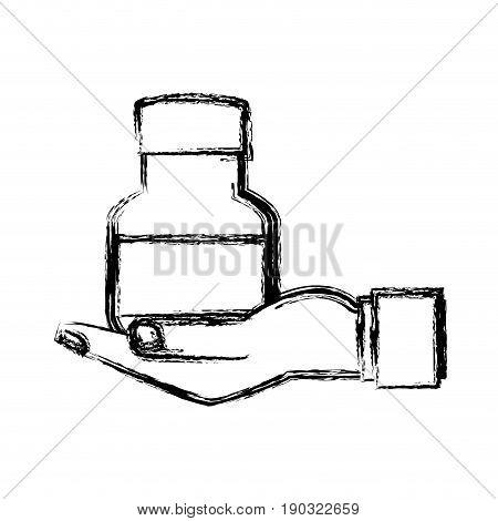 human hand holding bottle medicine pet care sketch vector illustration