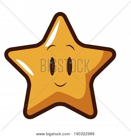 cute kawaii star face emoticon character vector illustration