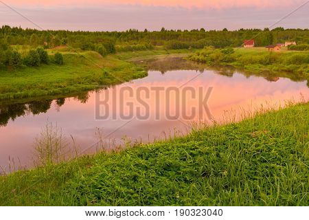 Bend Of The River Shelon In The Pskov Region, In The Daytime