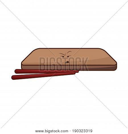 kawaii wooden plate and chopsticks japanese vector illustration