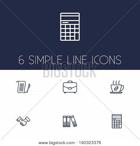 Set Of 6 Bureau Outline Icons Set.Collection Of Document Case, Partnership, Counter And Other Elements.
