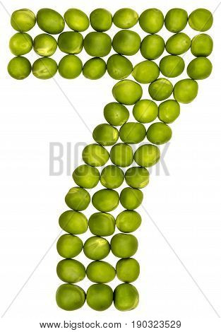 Arabic Numeral 7, Seven, From Green Peas, Isolated On White Background