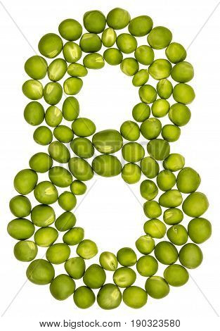 Arabic Numeral 8, Eight, From Green Peas, Isolated On White Background