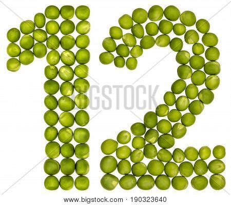 Arabic Numeral 12, Twelve, From Green Peas, Isolated On White Background