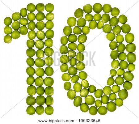 Arabic Numeral 10, Ten, From Green Peas, Isolated On White Background