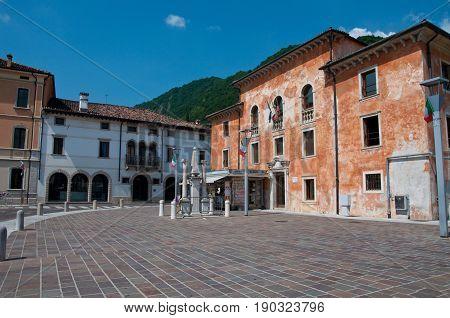 27 may 2017-vittorio veneto-italy-Main square in the city of Vittorio Veneto