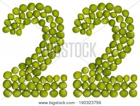 Arabic Numeral 22, Twenty Two, From Green Peas, Isolated On White Background