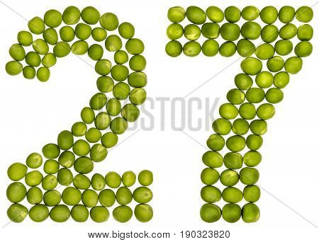 Arabic Numeral 27, Twenty Seven, From Green Peas, Isolated On White Background