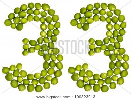 Arabic Numeral 33, Thirty Three, From Green Peas, Isolated On White Background
