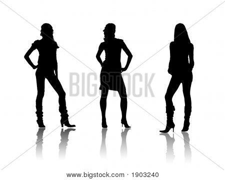 Black Fashiol Ladies Silhouettes