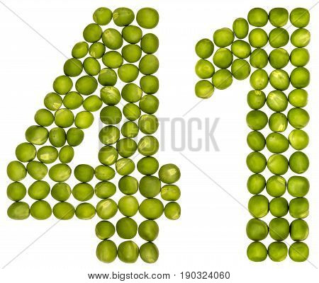 Arabic Numeral 41, Forty One, From Green Peas, Isolated On White Background