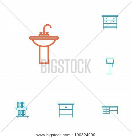 Set Of 6 Decor Outline Icons Set.Collection Of Drawer Unit, Floor Lapm, Nightstand Elements.