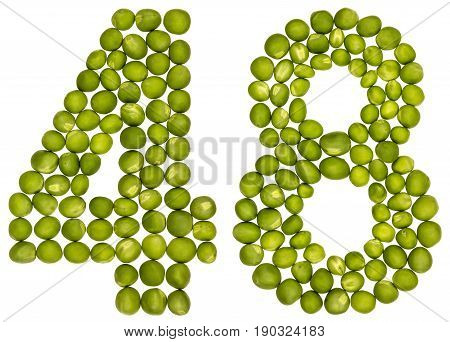 Arabic Numeral 48, Forty Eight, From Green Peas, Isolated On White Background