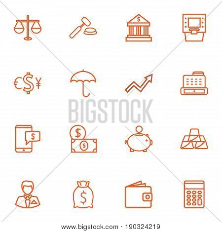 Set Of 16 Budget Outline Icons Set.Collection Of Electron Payment, Money Box, Bank And Other Elements.
