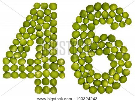 Arabic Numeral 46, Forty Six, From Green Peas, Isolated On White Background