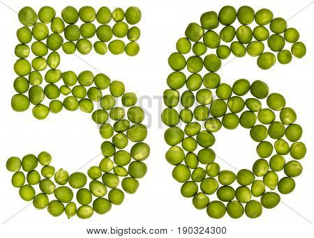 Arabic Numeral 56, Fifty Six, From Green Peas, Isolated On White Background