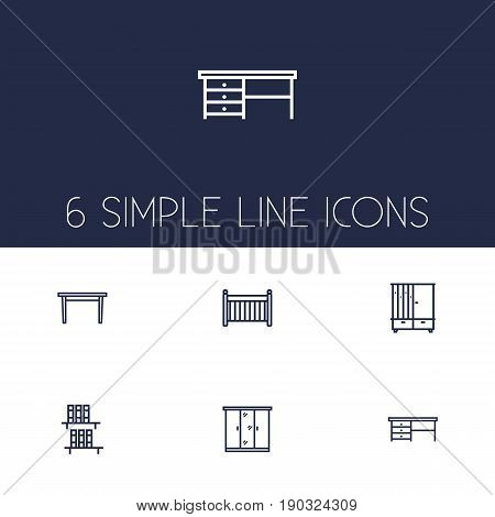 Set Of 6 Situation Outline Icons Set.Collection Of Crib, Bookshelf, Hall Tree And Other Elements.