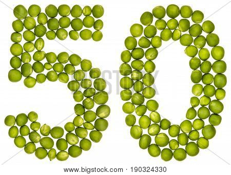 Arabic Numeral 50, Fifty, From Green Peas, Isolated On White Background