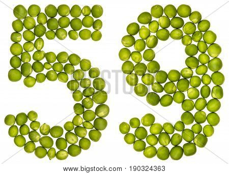 Arabic Numeral 59, Fifty Nine, From Green Peas, Isolated On White Background