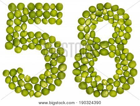 Arabic Numeral 58, Fifty Eight, From Green Peas, Isolated On White Background