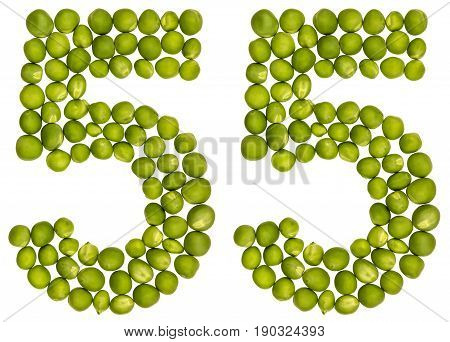 Arabic Numeral 55, Fifty Five, From Green Peas, Isolated On White Background