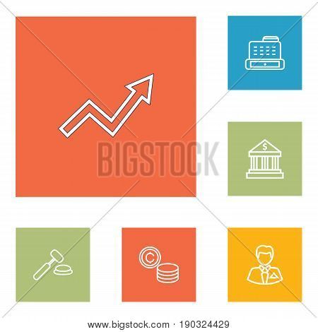 Set Of 6 Budget Outline Icons Set.Collection Of Grow Up, Coins, Auction And Other Elements.
