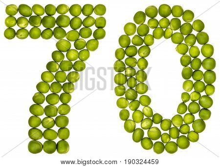 Arabic Numeral 70, Seventy, From Green Peas, Isolated On White Background