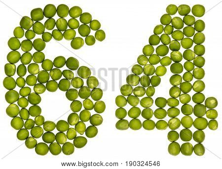 Arabic Numeral 64, Sixty Four, From Green Peas, Isolated On White Background