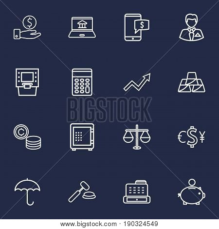 Set Of 16 Budget Outline Icons Set.Collection Of Cash Register, Auction, Safe And Other Elements.