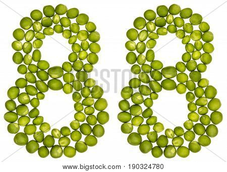 Arabic Numeral 88, Eighty Eight, From Green Peas, Isolated On White Background