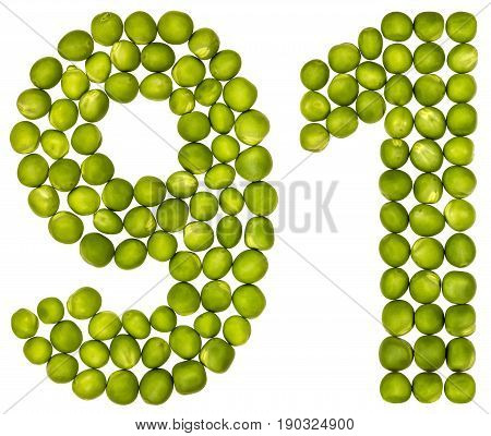 Arabic Numeral 91, Ninety One, From Green Peas, Isolated On White Background