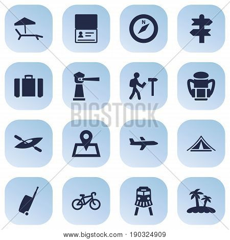Set Of 16 Travel Icons Set.Collection Of Baggage, Seamark, Location And Other Elements.