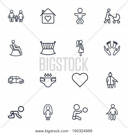 Set Of 16 Relatives Outline Icons Set.Collection Of Car, Pregnant Woman, Stroller And Other Elements.