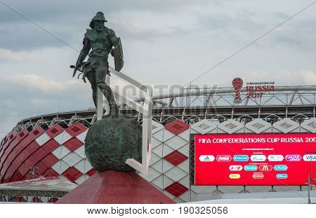 Russia, Moscow June 8, 2017 The sculpture of the gladiator in the square in front of the Spartak stadium in Moscow where the matches of the FIFA Confederations Cup 2017 and the 2018 FIFA World Cup will be held.