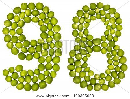 Arabic Numeral 98, Ninety Eight, From Green Peas, Isolated On White Background